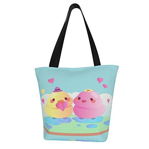 Lindo día de San Valentín animal pareja con pájaros reutilizables bolsas de comestibles bolsas de compras resistentes al agua, material laminado surtido de poliéster