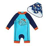 upandfast Bañador para bebé con sombrero para el sol, UPF 50+, cremallera de una pieza, Pez azul., 3-6 Meses