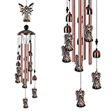 Angel Wind Chimes for Outside Hanging Wind Chimes Outdoor Decor, Deep Tone Memorial Wind Chimes with Hook, Smooth Melodic Tones Sympathy Wind Chimes, Yard Patio Home Garden Decor