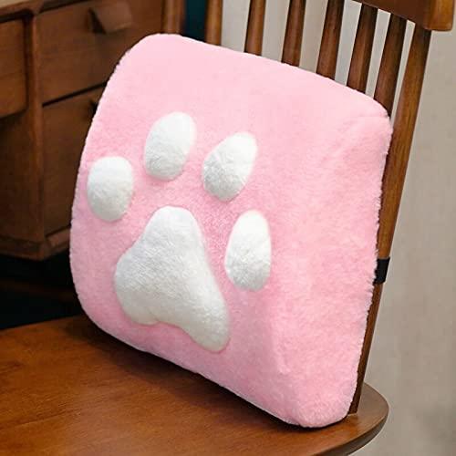 Tekaopuer - Cuscino di supporto lombare, cuscino a forma di gatto, in memory foam, per sedile auto, sedia da ufficio, per sollievo dal dolore alla schiena, decorazione per casa, ufficio, colore: rosa