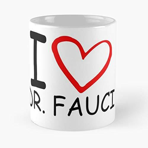Taza clásica con texto en inglés 'I Love Dr Fauci Anthony 2020 – Regalo divertido taza de té blanca de 325 ml, el mejor regalo para vacaciones.