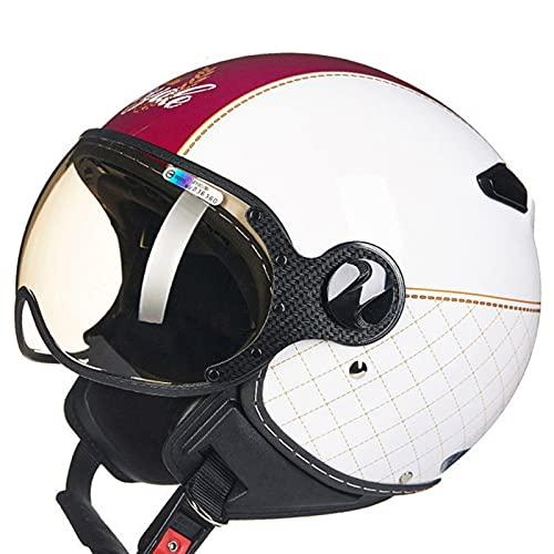 Casco de motocicleta de cara abierta para hombres y mujeres, ligero, aprobado por la ECE, estilo retro 3/4, medio casco con visera con ventilación para crucero, ciclomotor, scooter Street Touring