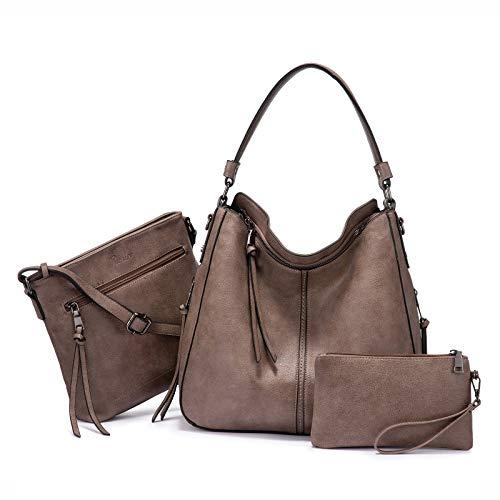 Realer Set di 3 borse da donna in pelle, borsa a tracolla, borsa a tracolla, per ufficio, scuola, shopping, viaggio, Colore pistola tortora con chiusura lampo, Large