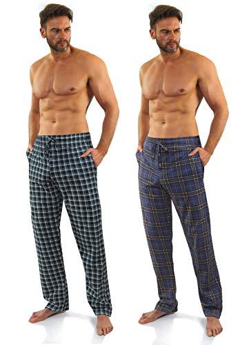 Sesto Senso Herren Schlafanzughose Lang Kariert Pyjamahose 100{b25db6a1cfd243d16072e471dd40a338e1df27aaea7635f62c8a211ea8dcdfa0} Baumwolle 1er - 2er Pack Pyjama Nachtwäsche L 8+10