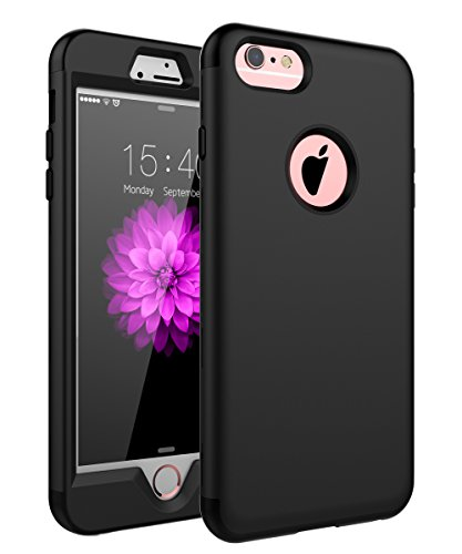 "SKYLMW Case for iPhone 6 Plus, Case for iPhone 6s Plus, Three Layer Heavy Duty High Impact Resistant Hybrid Protective Cover Case for iPhone 6 Plus/6s Plus (Only for 5.5""), New Black"