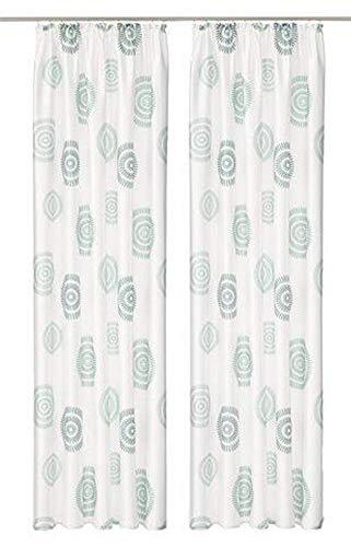 MyHome Lot de 2 Rideaux décoratifs pour Galon fronceur Vert crème 265 x 140 cm