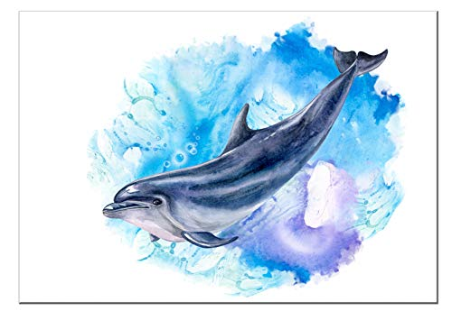 """7Dots Art. Sea Animals. Watercolor Art Print, Poster 8""""x12"""" (A4) on Fine Art Thick Watercolor Paper for Living Room, Bedroom, Bathroom, Kid's Room. Wall Art Decor with Sea Animals."""