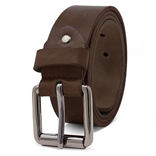 ROYALZ Vintage Cintura Uomo in robusta pelle di bufalo 4 mm, Cintura per Jeans con fibbia ad ardiglione antico - Larghezza della cinghia:38 mm, Colore:Marrone Scuro, dimensione:80