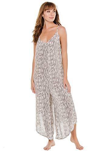 J. VALDI Women's Laguna Print Sleeveless Flowy Jumpsuit Swim Cover Up Grey S