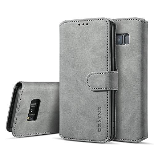 UEEBAI Handyhülle für Samsung Galaxy S8 Plus, Hülle Retro Premium PU Leder Weich TPU Klapphülle [Magnetverschluss] Kartenfach Standfunktion Anti Kratzern Flip Wallet Trageband Schutzhülle - Grau