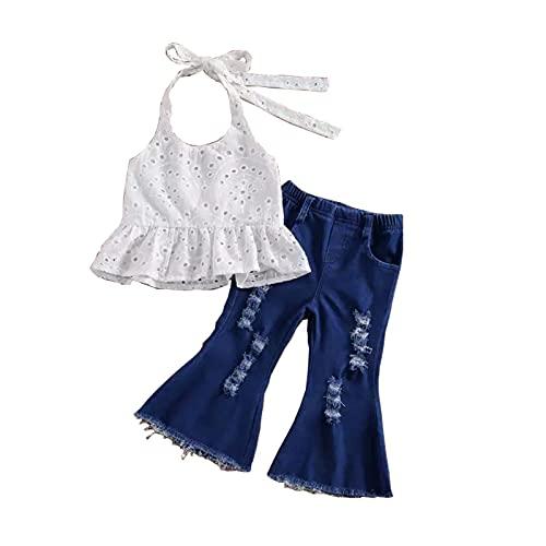 Toddler Baby Girl Summer Sleeveless Off Shoulder Lace Ruffle Dress Top Denim Bell Bottom Pants 2Pcs Sets (White, 3-4 T)