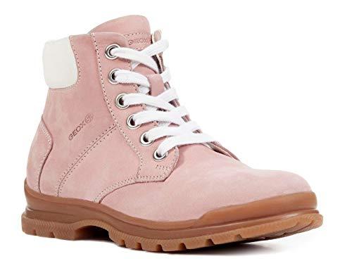 Geox J847CB Navado Modischer Mädchen Leder Stiefel, Schnürstiefel, leichtes Fleece Futter, atmungsaktiv Pink (PINK), EU 30