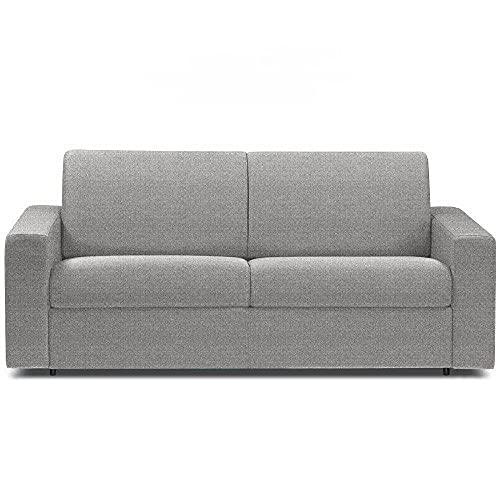 Canapé Convertible rapido CRÉPUSCULE Matelas 140cm Comfort BULTEX® Tissu Tweed Fashion Gris Silver