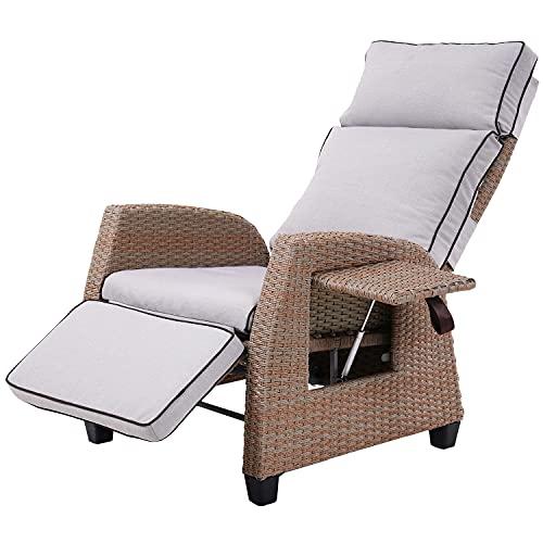 Grand patio Relaxliege Liegesessel, Ergonomisch, Outdoor Resin Wicker Recliner Stuhl mit Kissen, Seitenwand, UVFade/Wasser/Sweat/Rost Resistant (Licht Beige)