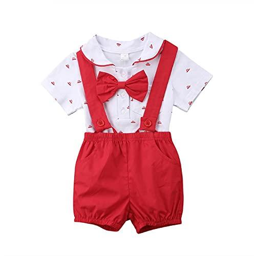 Bebé Recién Nacido Conjunto de 2 Piezas Traje de Caballero Mameluco de Manga Corta con Corbata de Bowknot y Cuello de Polo + Pantalones Cortos de Tirantes para Bautizo Cumpleaños (Rojo, 12-18 Meses)