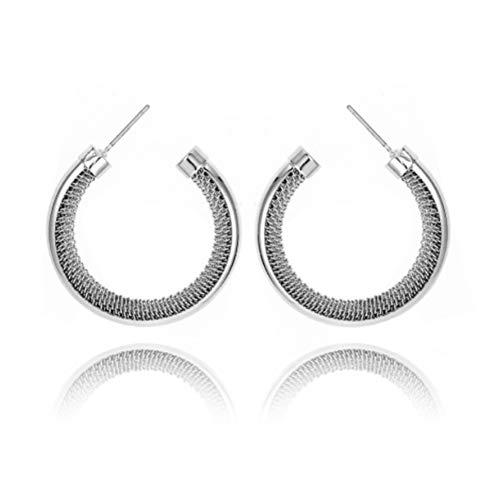 Naisde 1 par de pendientes de aro de circonita cúbica para mujer, pendientes de aleación, joyería de moda para mujeres y niñas, pendientes de piña de plata