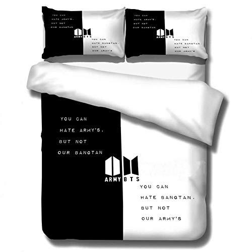 HughFan 3 Stck Bettwsche Set, Kpop Bangtan Boys Polyester Bettbezug, 1x Bettbezge, 2X Kissenbezug(H05 Black White)