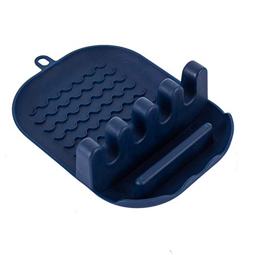 Huante Silicone Utensil Holder with Spoon Rest Lid Holder, Spoon Holder Lid, Kitchen Pad, Holder Containers Navy Blue