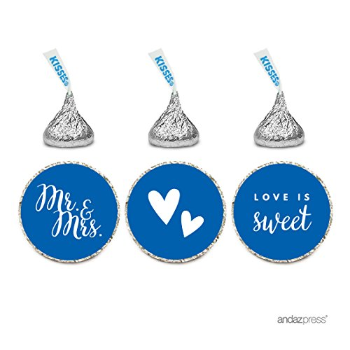 Andaz Press Chocolate Drop Labels Trio, Fits Hershey's Kisses, Wedding Mr. & Mrs., Royal Blue, 216-Pack, For Bridal Shower, Engagement Party Favors, Gifts, Stationery, Envelopes, Decor, Decorations