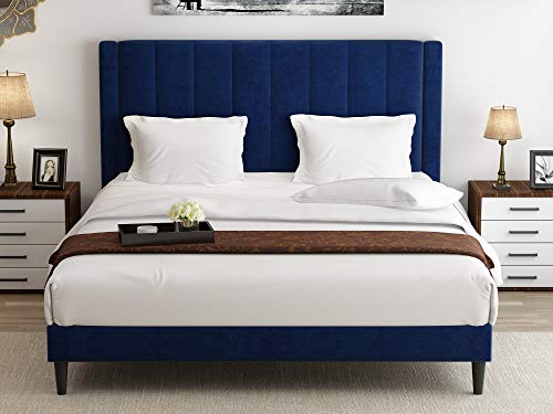 Amolife Queen Size Bed Tufted Platform Bed Frame/Upholstered Bed Frame Mattress Foundation/Easy Assembly/Strong Wood Slat Support,Dark Blue