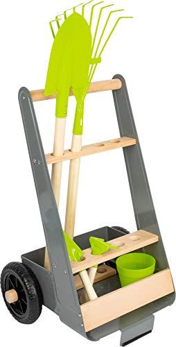 small foot 11663 Gartentrolley-Set aus Buchenholz und Metall inkl. Spaten, Rechen, Pflanztopf, Schaufel und Harke, ab 3 Jahren Spielzeug