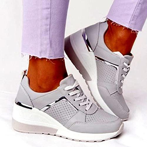 Street Running Shoes,Zapatos Deportivos de Gran tamaño para Caminatas de Ocio para Mujer, Zapatos Deportivos de Malla, Gris_42,Zapatillas de Running para Hombre y Mujer