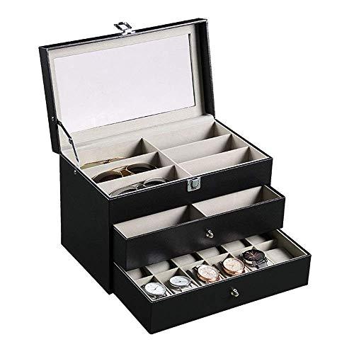 XYSQWZ Armbanduhr für Frauen, Elegante Aufbewahrung 3-lagige Herrenbrille Metallschnalle Schmuck Vitrine mit echtem Glasdeckel Schwarz (schwarz, S)