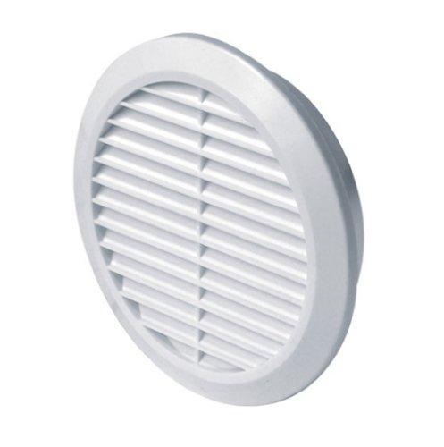 Lüftungsgitter Ø 100 mm rund weiß Kunststoff Insektennetz Abluftgitter Zuluft Abluft Gitter Lüftung T30