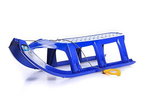 Unbekannt Schlitten Kinderschlitten Rodel aus Kunststoff Zugseil Metallkufen Tatra 3 Farben (Blau)