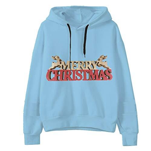 LoveLeiter Damen Kapuzenpullover Langarm Pullover Hoodie Weihnachten Brief Drucken Casual Sweatshirt Classic Hoody Winter Langarm Winterjacke Mantel Outwear
