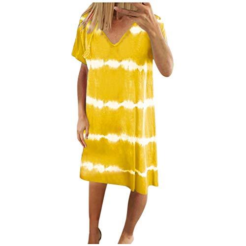 BALABA❥Women's Casual Loose V Neck Tie Dye Stripe Printed Short Sleeve Dress Summer Comfy Straight Dress Yellow
