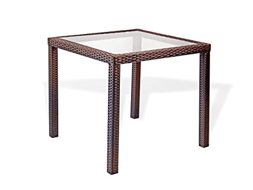 Patio Resin Outdoor Wicker Square Dining Table w/Glass, Dark Brown