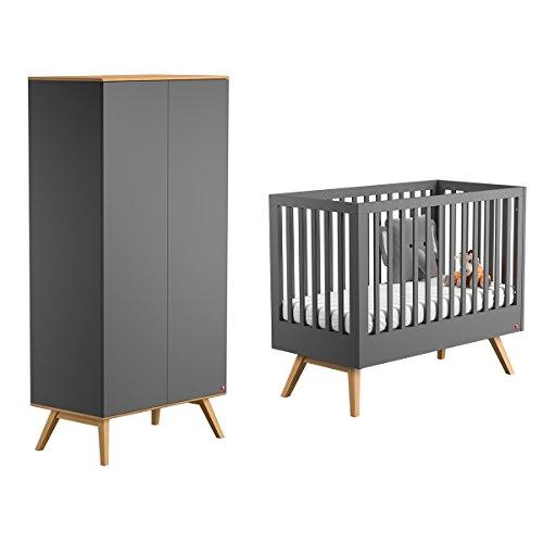 Lit bébé 60x120 et Armoire 2 portes Nature - Gris