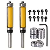 Yakamoz 2Pcs 1/4'' Shank Top and Bottom Bearing Guide Flush Trim Pattern Router Bit Set Woodworking Cutter Tool with 10 Pcs Top Mounted Replacement Bearings
