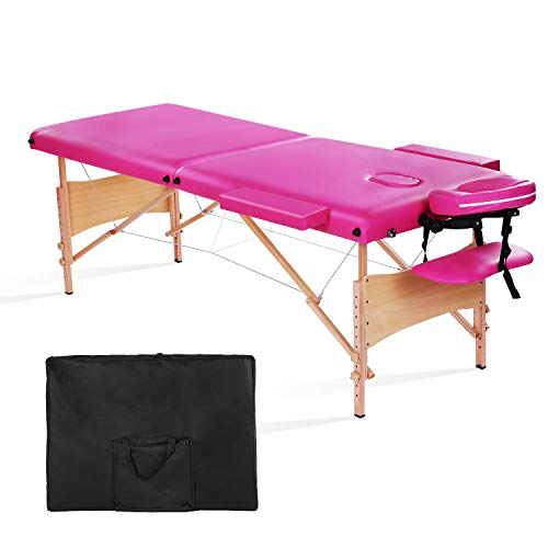 MaxKare Massage Table Portable Facial SPA Professional Massage Bed With Carrying Bag 2 Fold. (Pink)
