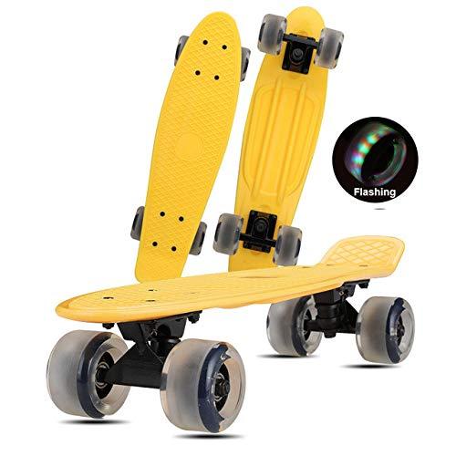 Penny Board - Tabla de monopatín de 22 pulgadas Mini Cruiser Fish Board Abec-7 Rodamientos Longboard para adultos, principiantes, niñas, niños, deportes al aire libre,Rueda de destello amarilla