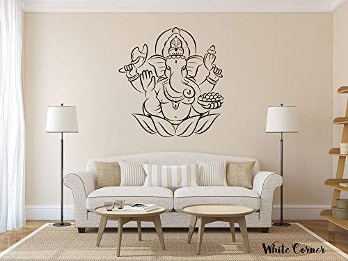 Ganesga Ganesga God Hindi Yoga India Namaste, flor de loto sala de estar oficina hermosa vista vinilo adhesivo decorativo dormitorio 55,88 cm