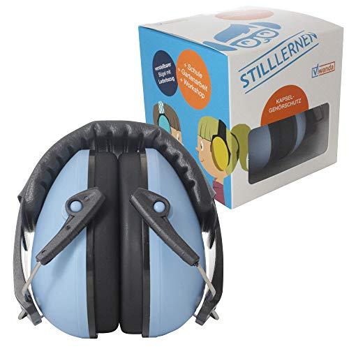 Viwanda Bon Reihe Kapselgehörschutz blau - Kinder Gehörschutz mit verstellbarem Kopfbügel für Lärm bis SNR 26.2dB - Hörschutz mit geringem Gewicht für Jugendliche & Erwachsene Earmuff