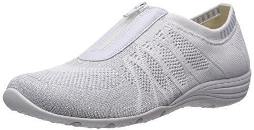 Skechers Sport Women's Unity Transcend Fashion Sneaker,White/Silver,6.5 M US