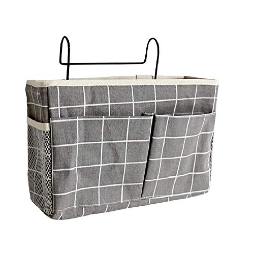 TOKinCen Organizador de cama multifuncional para colgar en la cama, con gancho para los dardos, bolsa de almacenamiento para colgar la cama, sofá, para literas, libro, revistas, color gris