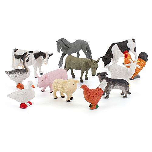 Elibeauty Juego de 12 mini animales de la selva, juego de animales de pretendencia, juego de animales de granja, mini figuras para niños pequeños, juego de regalo