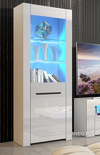 Furneo High Gloss & Matt White Display Cabinet Cupboard Milano09 Blue LED Lights