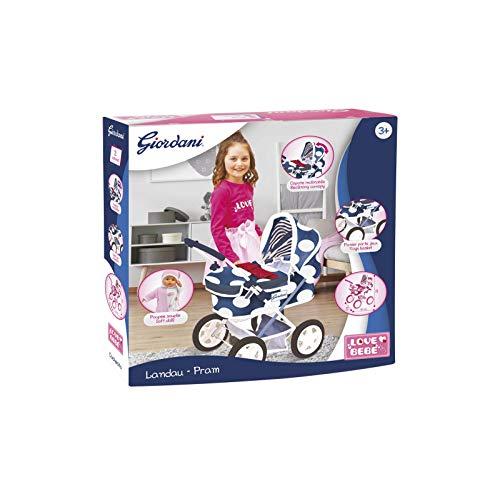 Love Bebé - Carrozzina per Bambole Giordani Rosa con Bambola Soft Inclusa - Passeggino per Bambole - Giochi per Bambine, Giochi per Bambini e Giocattoli - 68x66x37 cm