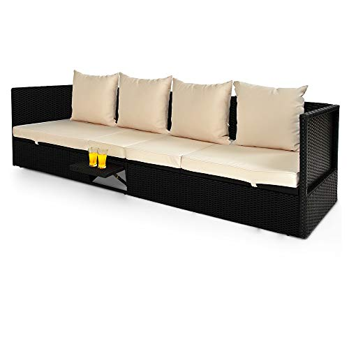 Deuba Lettino Prendisole da Esterno in polirattan 200x60x58cm con tavolino Pieghevole Sedia Sdraio da Giardino Balcone terrazza