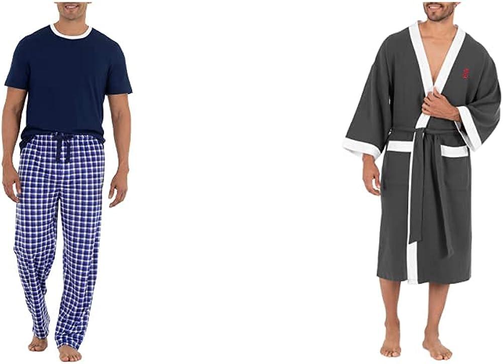 IZOD Men's Short Sleeve Jersey Knit Top and Lite Touch Fleece Pants Sleep Set, Navy, X-Large & Waffle Knit Kimono Robe, Charcoal Heather, One Size