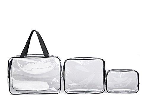 Wicemoon 3PCS Cadeaux Sacs de maquillage et étuis Sac en plastique Transparent Sac de voyage en PVC Brosses Organisateur pour hommes et femmes Voyage d'affaires Salle de bains size 3 SIZES (Black)