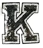 3' inch Black and Silver Sequin Letter A-Z Iron-on Patch Appliqué Sewing Alphabet Letter (K)