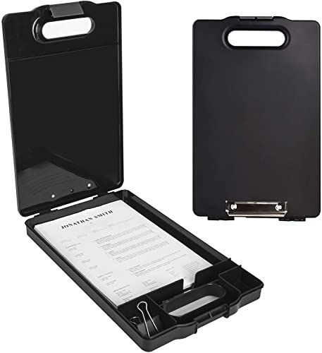 Heavy Duty Storage Clipboard,Black Plastic Clipboard Cute with Handle,A4 Letter Size Plastic Top Opening, 15.6×9.84in, Double Smooth Writing Portable Paperwork