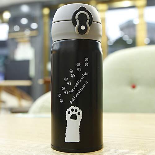 ZGZFEIYU Taza Termo de Gato de Dibujos Animados de 350 ml, Bonitos frascos de vacío portátiles de Acero Inoxidable, Botella de Agua térmica, termocup-C