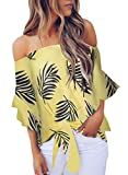 Asvivid Womens Cute Floral Printed Off The Shoulder Chiffon Blouses Short Bell Sleeve Flowy Tops Knotted Shirt S Yellow